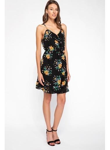 DeFacto Floral Desenli Askılı Elbise Siyah